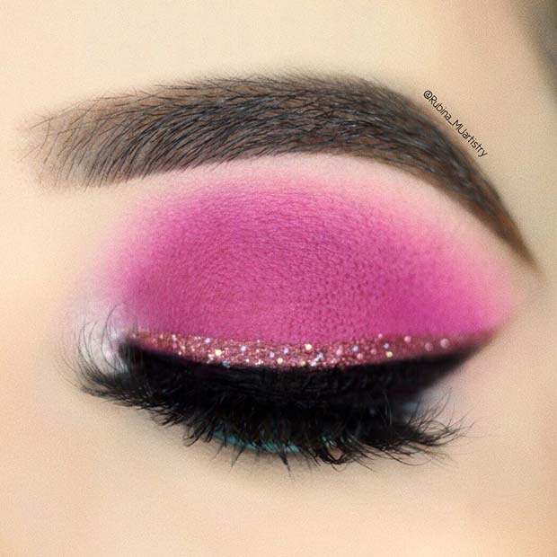 Neon Pink and Glitter Eye Makeup