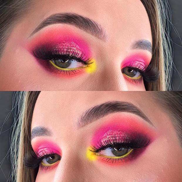 Neon Pink and Yellow Makeup