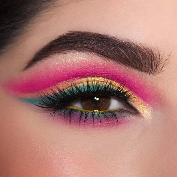 Neon Pink Eyes with Green and Yellow