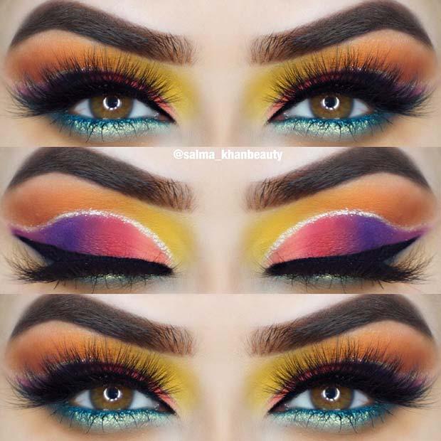 Neon Rainbow Eyeshadow Look