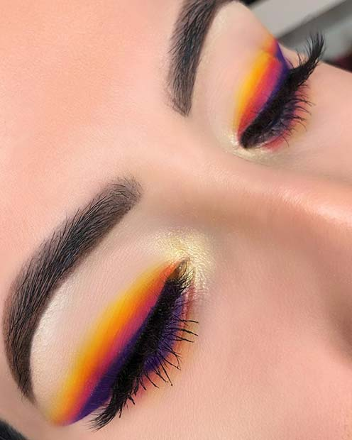 Neon Stripes Eye Makeup Idea