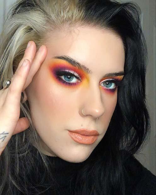 Neon Sunset Eye Makeup Idea