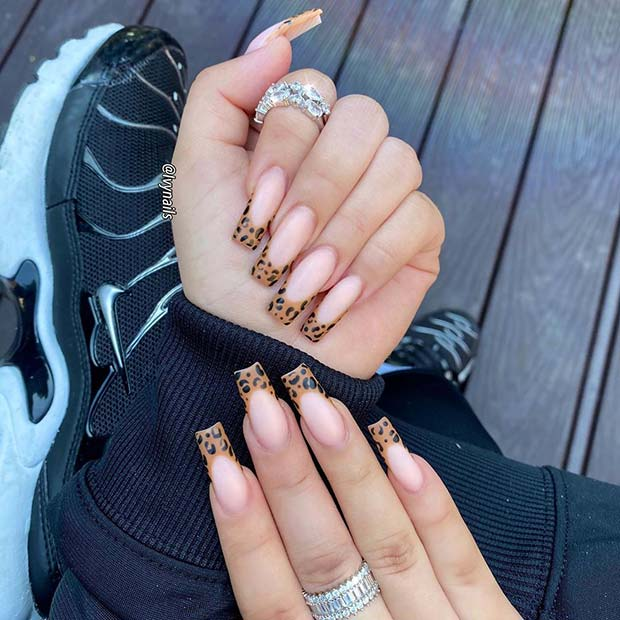 Nude Nails with Leopard Art