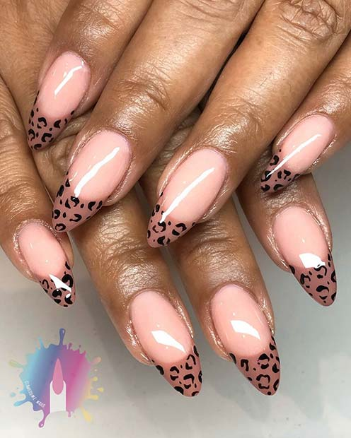 Nude Nails with Leopard Tips