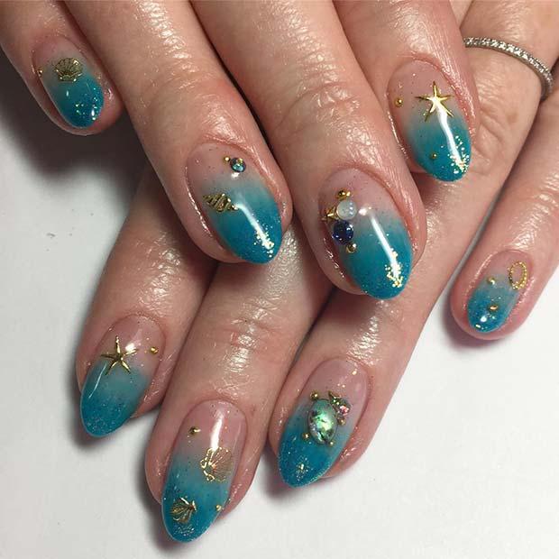 Ocean Inspired Nail Art