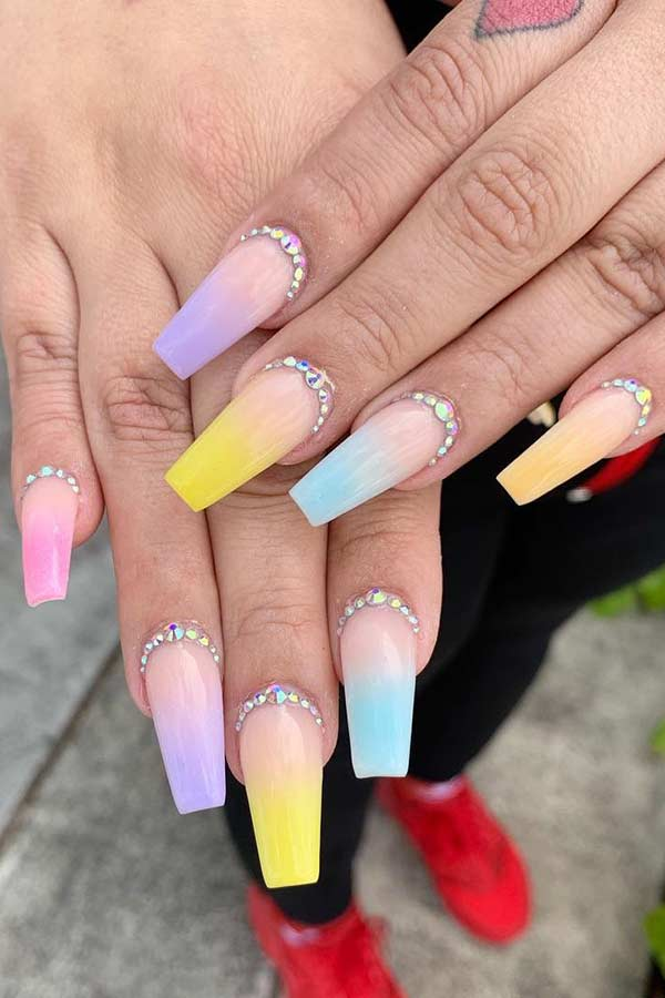 Pastel Ombre Nails with Rhinestones