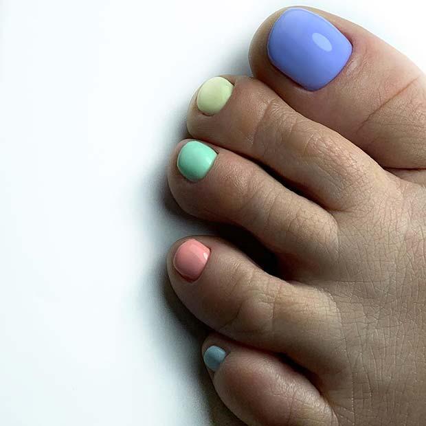 Colorful Pastel Toe Nails