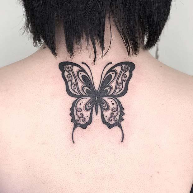 Patterned Butterfly Tattoo Design