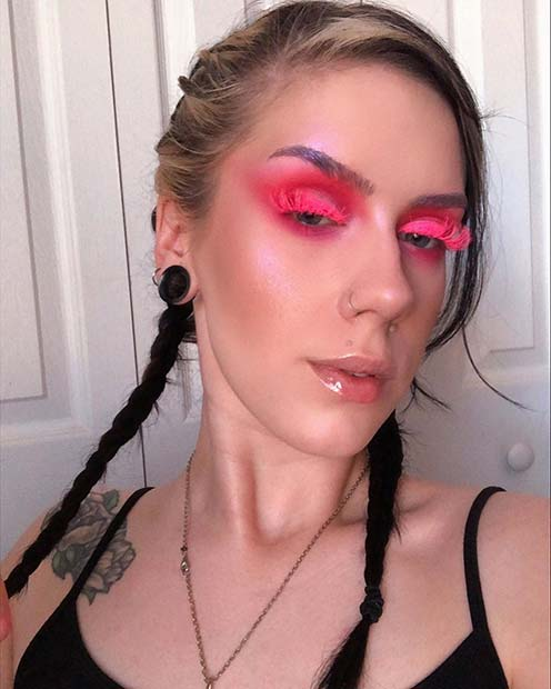 Pink Eye Makeup with Neon Lashes
