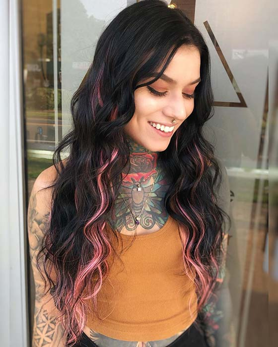 Pink Highlights with Black Hair