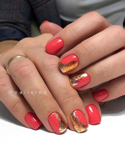 Pink and Gold Foil Nails