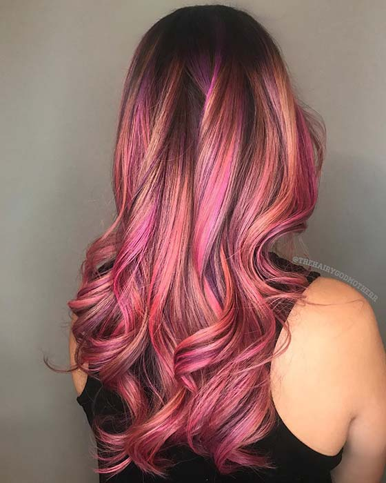 Pink, Purple and Peach Hair Color Idea