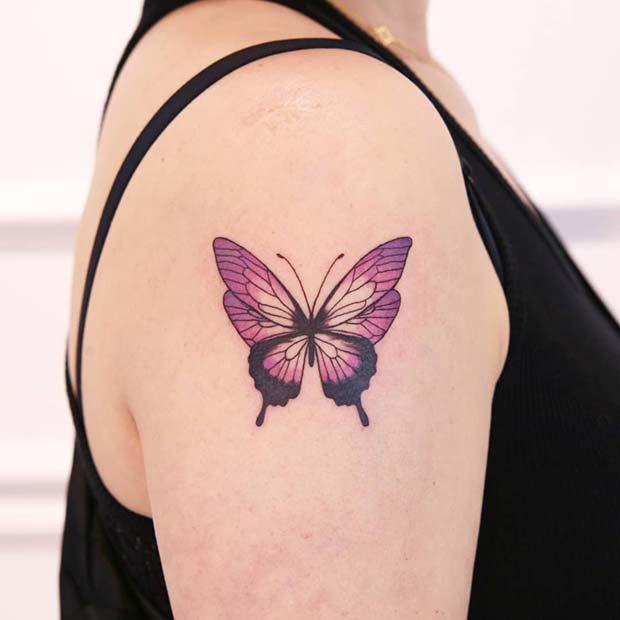 Pretty Purple Butterfly Tattoo