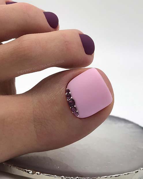 Purple and Pastel Pink Toe Design
