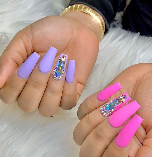Purple and Pink Nail Design