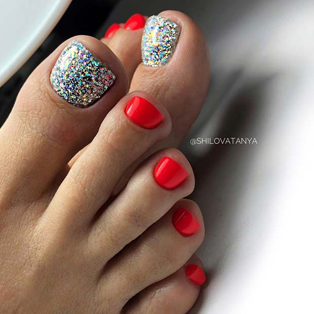 Red Toe Nails with Silver Glitter