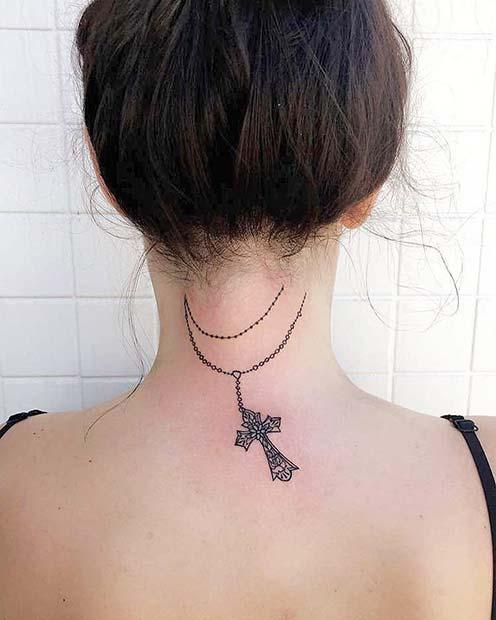 Rosary Tattoo Back of Neck Tattoo