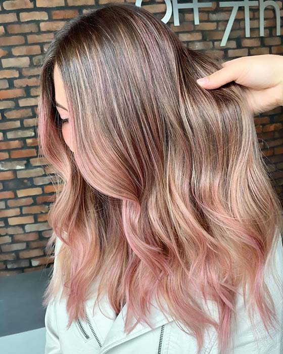 Rosy Highlights for Blonde Hair