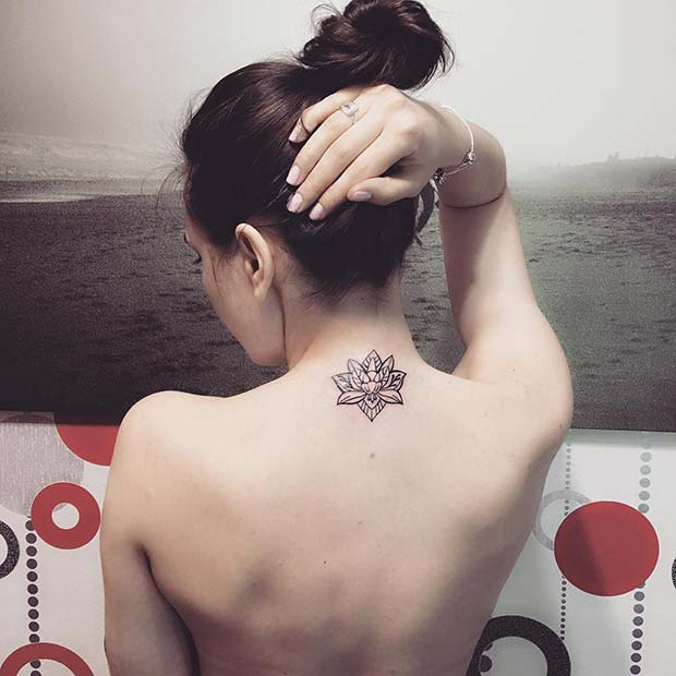 Small Lotus Back of Neck Tattoo