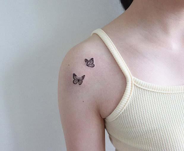 Small Butterflies Shoulder Tattoo