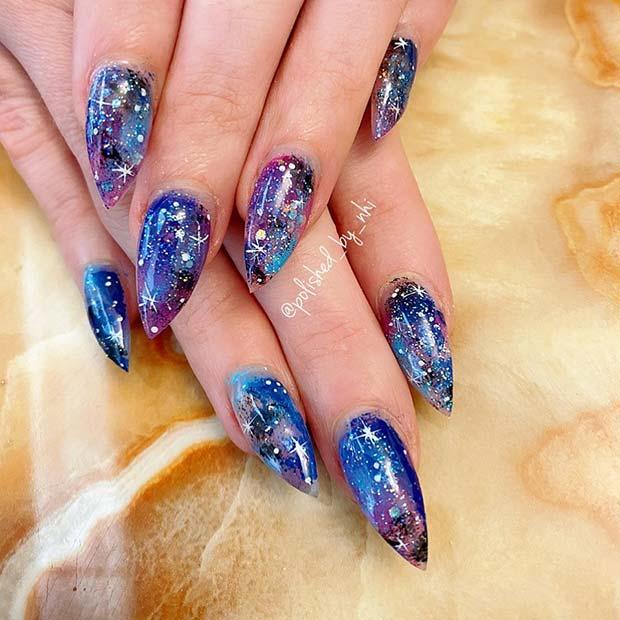 Space Stiletto Nails