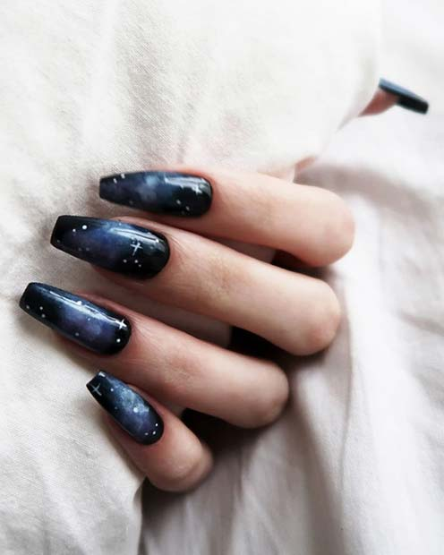 Space Theme Coffin Nails
