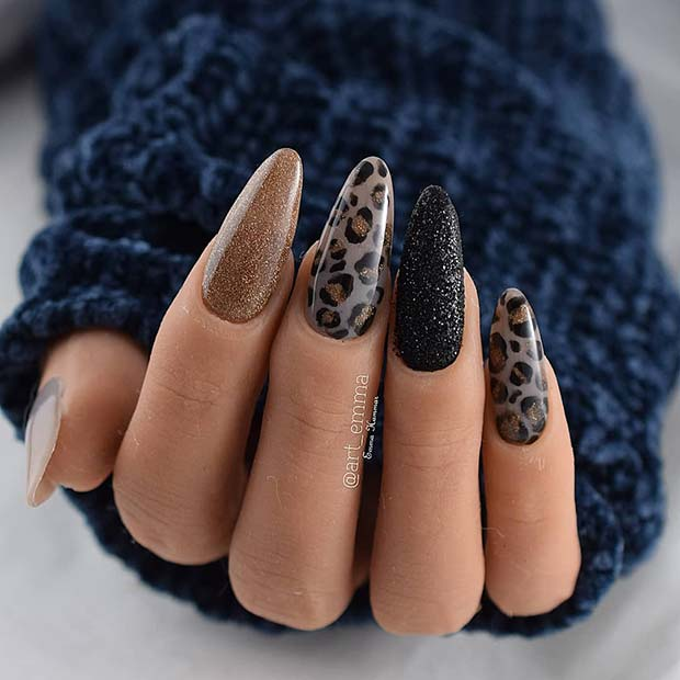 Sparkly Leopard Nails
