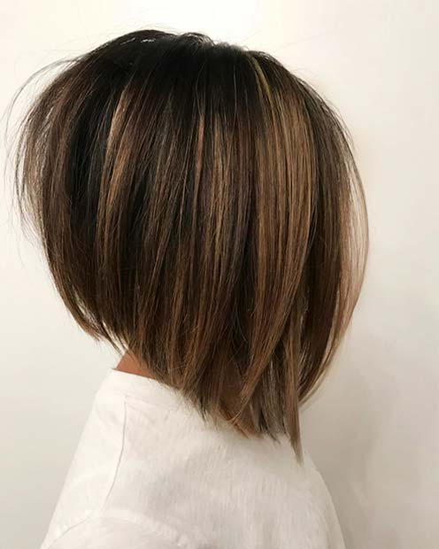 Stacked Long Bob with Highlights