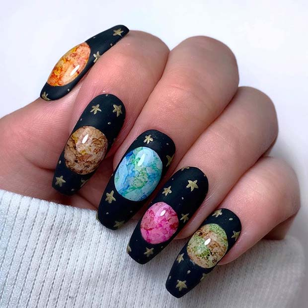 Black Nails with Stars and Planets