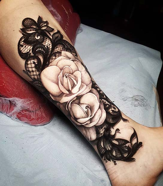 Lace and Roses Tattoo Design