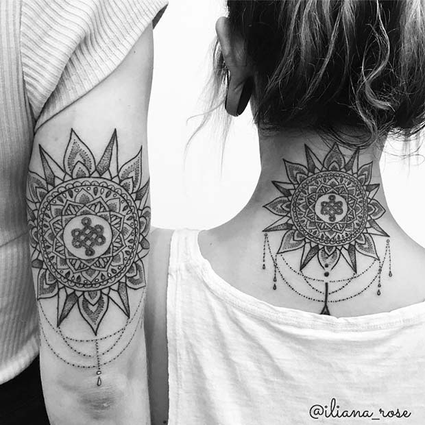 Stunning Sun Tattoo with Charms