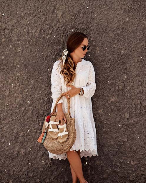 Stunning White Summer Dress Outfit Idea