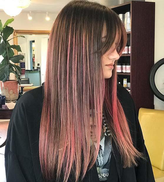 Stylish Pink Highlights and Bangs