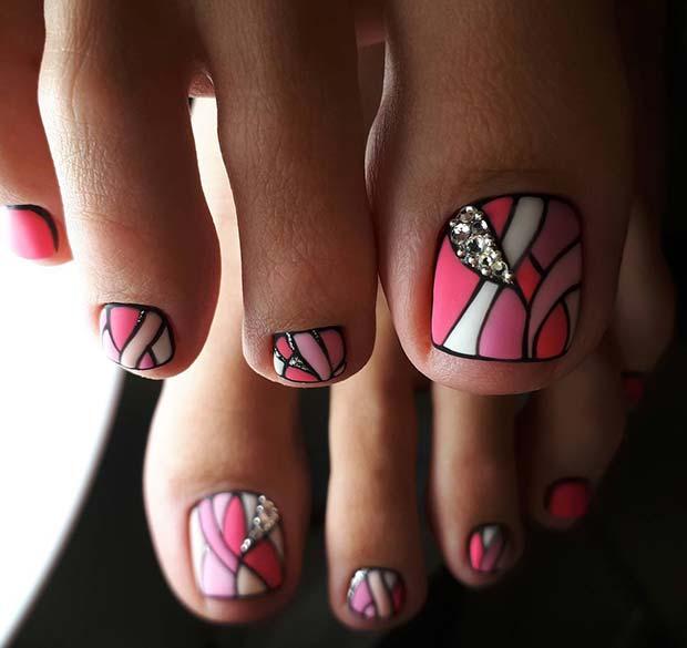Stylish Pink Toe Nail Art