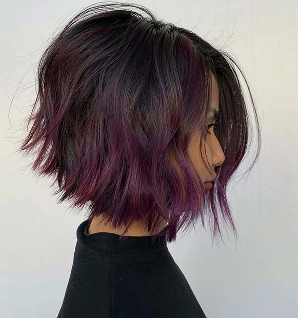 Layered Bob Cut with Purple Ombre