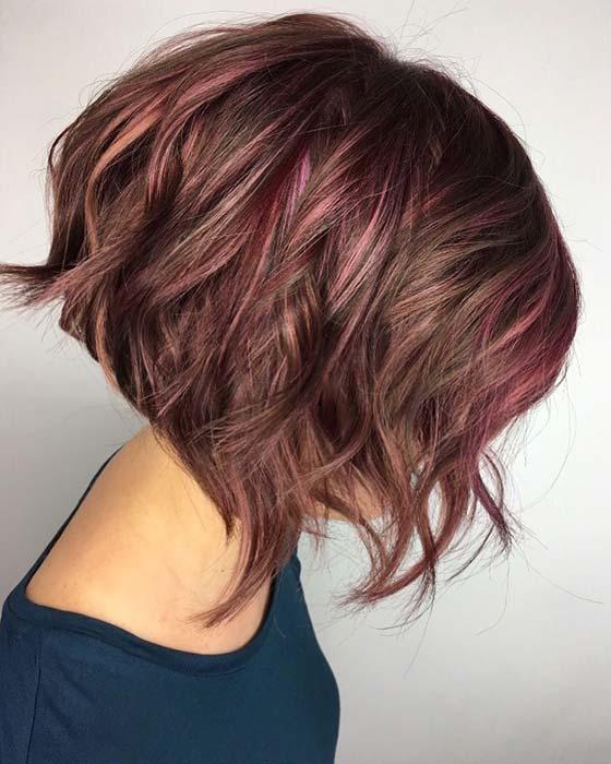 Subtle Pink Highlights for Short Hair