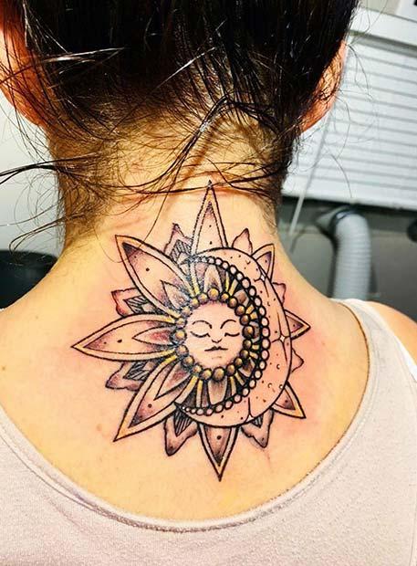 Sun and Moon Tattoo Design