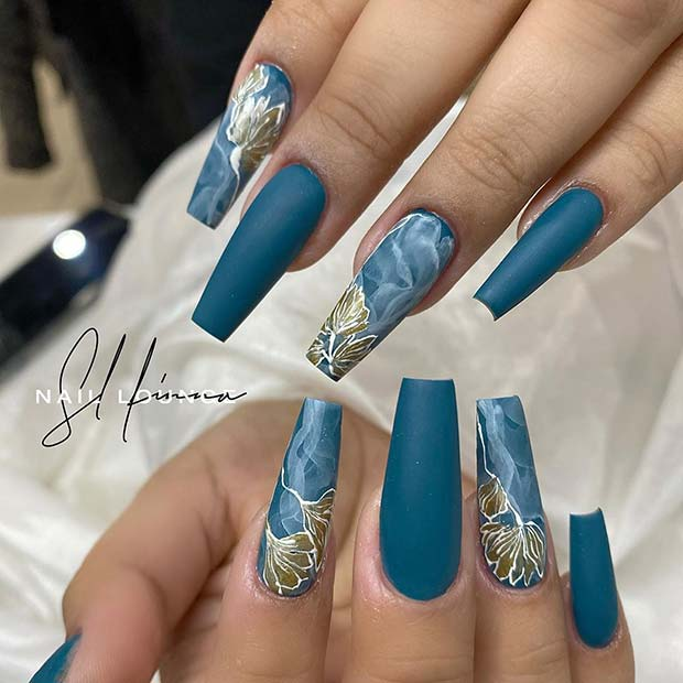 Teal Nails with Glam Nail Art