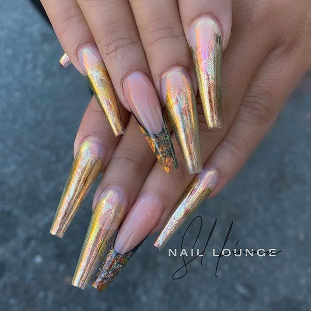 Trendy Gold Foil Nails