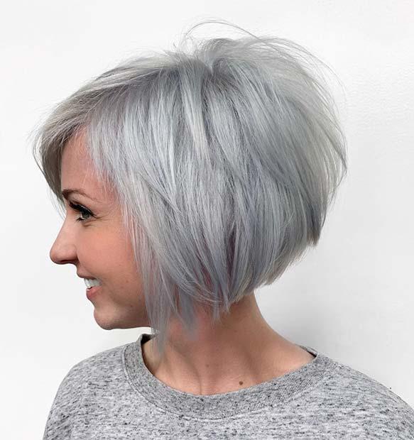 Trendy Grey Stacked Bob Cut