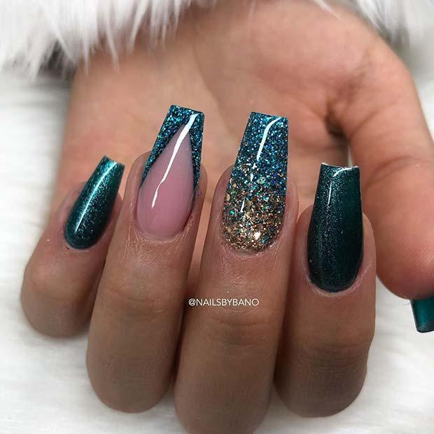 Glitter Dark Teal Nails