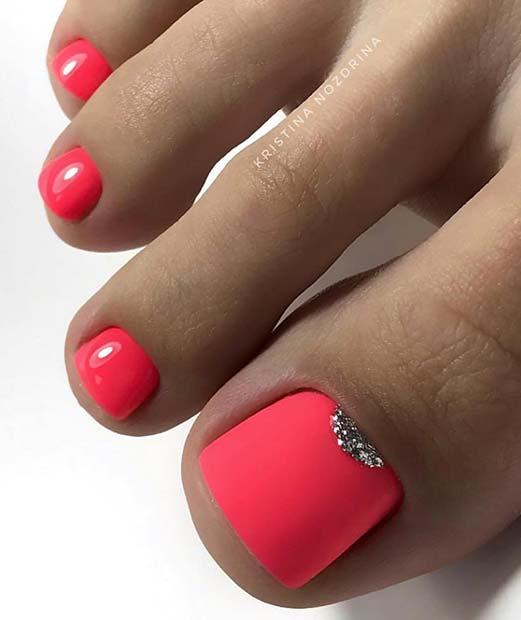 Vibrant Pink Toe Nails