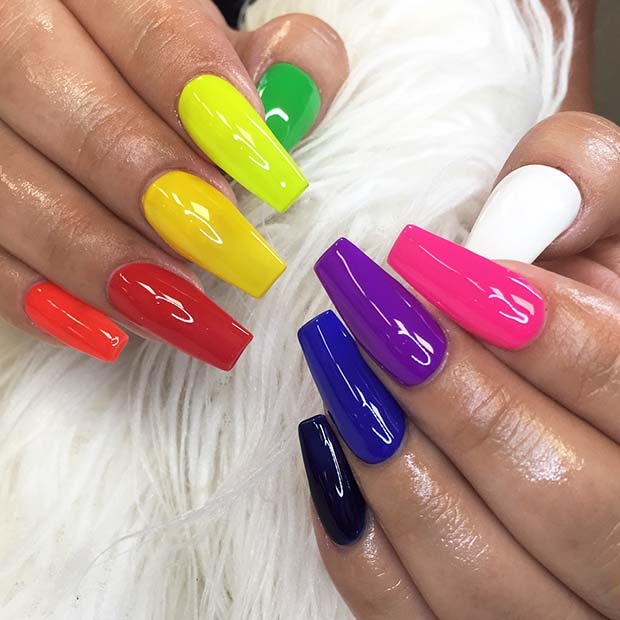 Simple Multi-Colored Nails