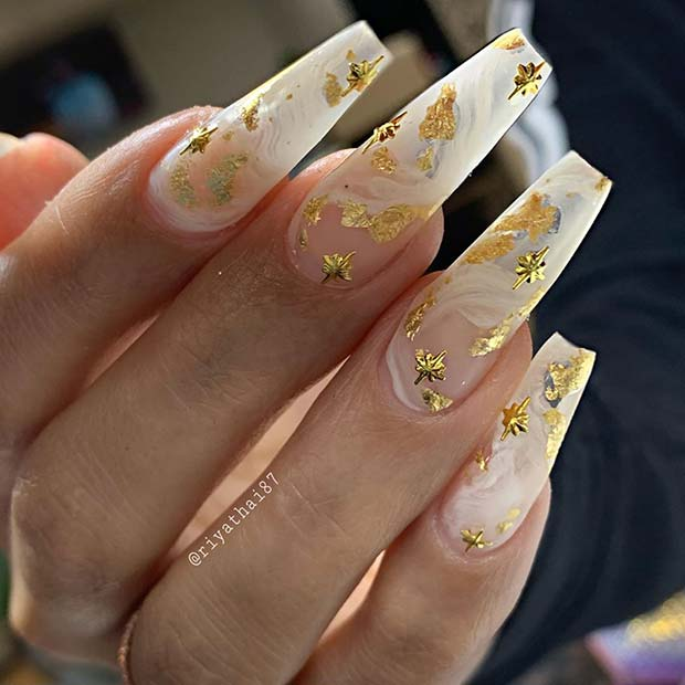 White Marble with Gold Foil