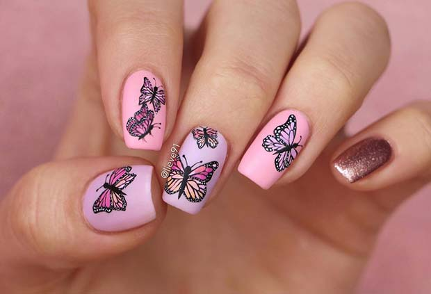 Beautiful Butterfly Nail Art