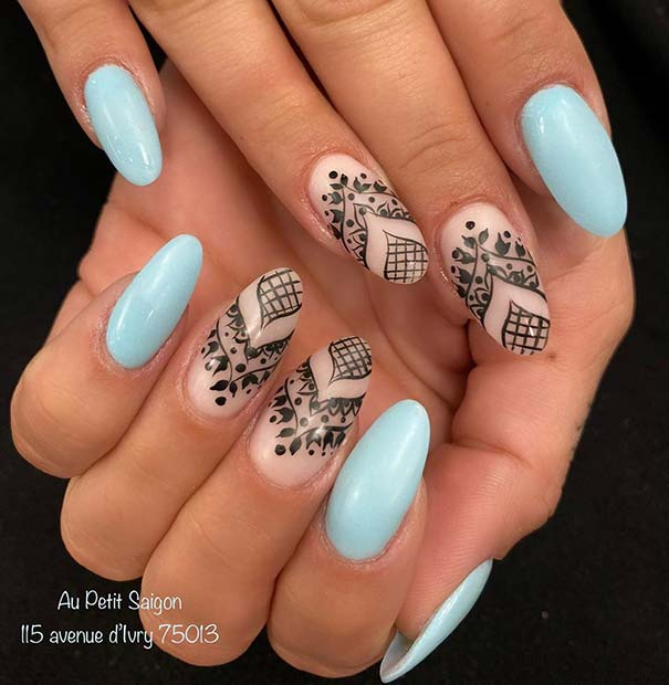 Blue and Lace Nail Art