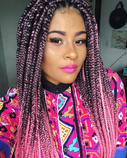 Bold Pink Box Braids