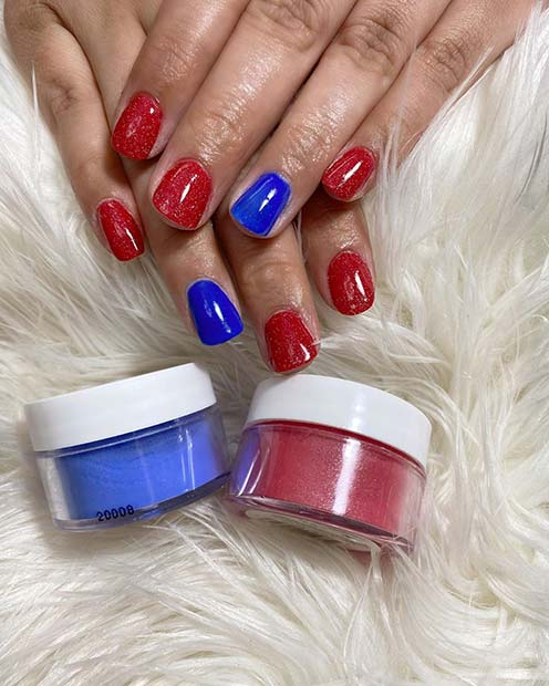 Bold Red and Blue Dip Nails