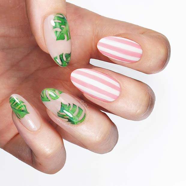 Botanical Leaf Nail Design