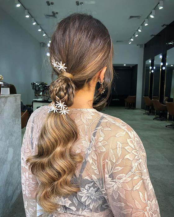 Braided Low Ponytail with Hair Accessories